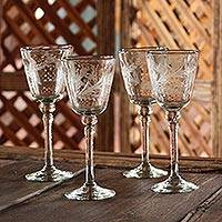 Etched wine glasses, 'Crystal Flowers' (set of 4) - Handcrafted Handblown Glass Etched Wine Glass (Set of 4)