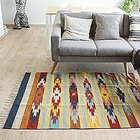 Zapotec wool rug, 'Wildflowers' (4x6)