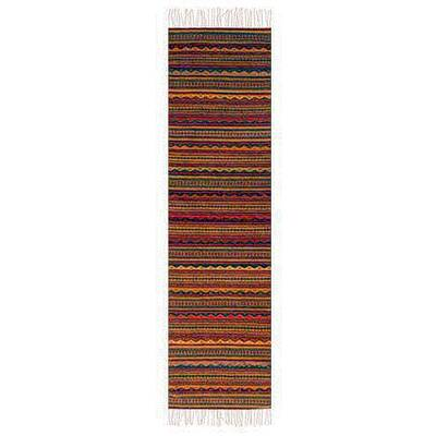 Traditional Zapotec Hand Woven Striped Runner Rug