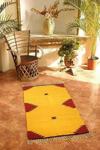 Hand Made Zapotec Wool Area Rug 2 5x5 Burning