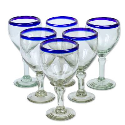 Wine goblets, 'Acapulco' (set of 6) - Handmade Handblown Glass Recycled Cocktail Drinkware Six