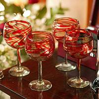 Blown wine glasses, 'Crimson Serpentines' (large, set of 6) - Handblown Recycled Glass Red Striped Wine Goblets Set of 6