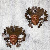 Iron and ceramic wall adornment, 'Aztec Masks' (pair) - Hand Crafted Archaeological Ceramic Mask Set (Pair)