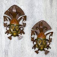 Iron and ceramic wall adornment, 'Maya Masks' (pair) - Wall Art Iron and Ceramic Mask Set Handmade Mexico