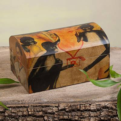 Decoupage chest, 'Frida Kahlo and Friends' - Frida Multicolor Wood Decorative Box