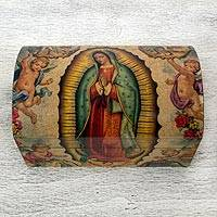 Decoupage chest, 'Virgin of Guadalupe' - Handmade Catholic Decoupage Wood Chest
