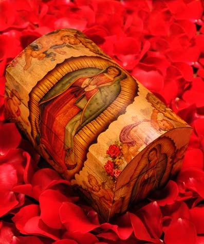 Handmade Catholic Decoupage Wood Chest
