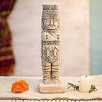 Ceramic figurine, 'Warrior from Tula' - Toltec Warrior Mexican Replica Ceramic Sculpture