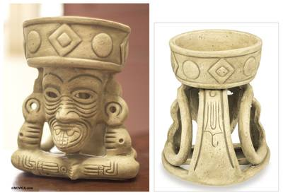 Ceramic figurine, 'Ancient Fire God' - Handmade Aztec Archaeologyl Ceramic Sculpture