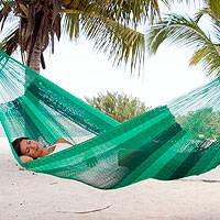 Hammock, 'Caribbean Dream' (double) - Striped Rope Hammock (Double)
