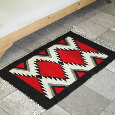 Zapotec wool rug, 'Fire' (2x3) - Zapotec wool rug (2x3)