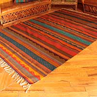 Zapotec wool rug Dancing Colors 6x9.5 Mexico