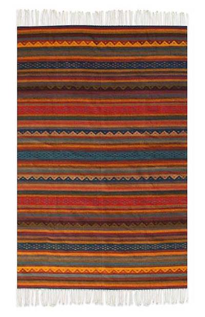 Zapotec Wool Rug 6x9 5 Dancing Colors Novica
