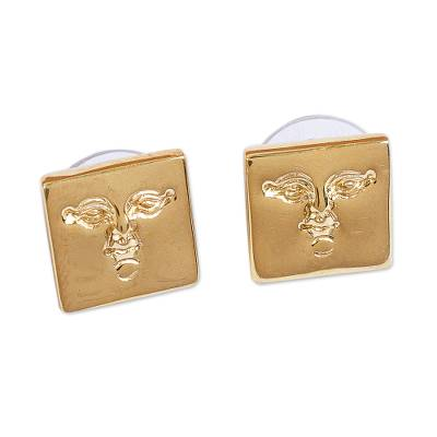Gold plated button earrings