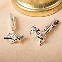 Sterling silver cufflinks, 'Tying the Knot' - Sterling silver cufflinks