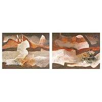 'Convulsive Earth' (diptych) - Abstract Landscape Paintings (Diptych)