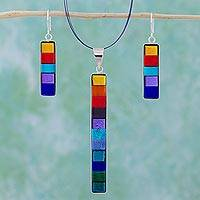Dichroic art glass jewelry set, 'Rainbow' - Modern Art Glass Pendant jewellery Set