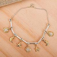 Gold plated charm bracelet,