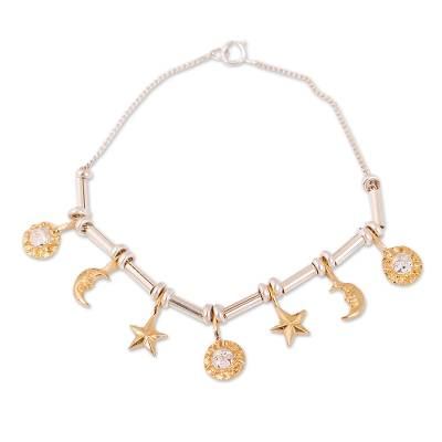 Moon and Star Astrology 22K Gold Plated Sterling Silver Charm Bracelet