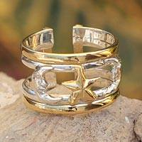 Gold plated wrap ring, 'Moon and Stars' - Fair Trade Gold Accent Sterling Silver Wrap Ring