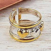 Gold plated heart ring, 'Our Three Hearts' - Mexican Heart Shaped Gold Accent Sterling Silver Band Ring
