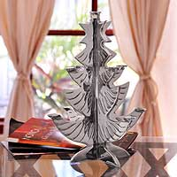 Aluminum centerpiece, 'Christmas Tree' - Aluminum centerpiece