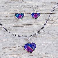 Dichroic art glass jewelry set, Hearts in Love