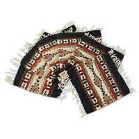 Wool coasters, 'Zapotec Paths' (set of 6) - Wool coasters (Set of 6)