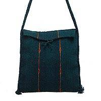 Wool shoulder bag, 'Jade Forest' - Dark Green Hand Woven Wool Shoulder Bag from Mexico