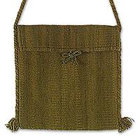 Wool shoulder bag, 'Green Olive' - Wool shoulder bag