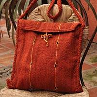 Wool shoulder bag, 'Sunbeams' - Wool shoulder bag
