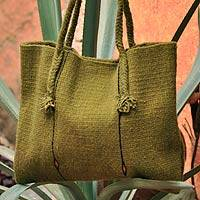Wool handbag, 'Ethnic Green' - Fair Trade Wool Tote Handbag