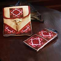 Hemp purse and phone pouch, 'Ethnic Rose' - Hill Tribe Embroidered Hemp Purse and Phone Pouch