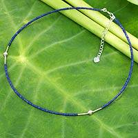 Lapis lazuli beaded necklace, 'A Pure Soul'