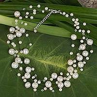 Pearl strand necklace, 'Ivory Fishnet' (Thailand)