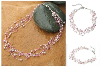 Pearl and crystal choker, 'Rose Mist' - Handcrafted Pearl Choker