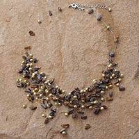 Pearl and tiger's eye choker, 'Golden Cloudfall' (Thailand)