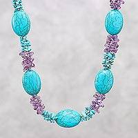 Amethyst beaded necklace, 'Gleaming Star' - Amethyst and Reconstituted Turquoise Necklace