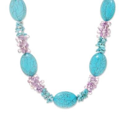 Amethyst and Reconstituted Turquoise Necklace