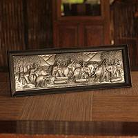 Aluminum repousse panel Life with the Elephants Thailand