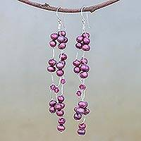 Pearl waterfall earrings, 'Purple Princess' - Pearl waterfall earrings