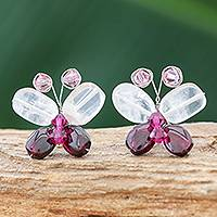 Garnet and rose quartz button earrings, 'Exotic Butterfly' - Artisan Crafted Garnet and Rose Quartz Button Earrings