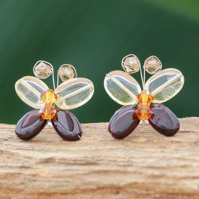 Garnet and citrine button earrings, 'Exotic Butterfly' - Handcrafted Beaded Quartz and Garnet Button Earrings