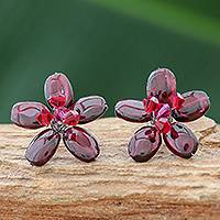 Garnet button earrings, 'Scarlet Flower' - Hand Made Floral Garnet Button Earrings