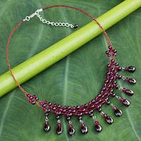 Garnet choker, 'Labyrinth'  - Hand Crafted Garnet Choker Necklace from Thailand