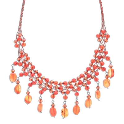 Beaded Carnelian Necklace from Thailand