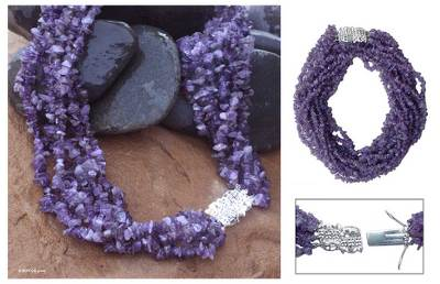 Amethyst torsade necklace, 'Jacaranda' - Beaded Amethyst Torsade Necklace