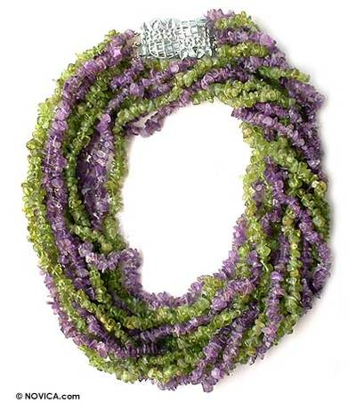 Fair Trade Amethyst and Peridot Necklace