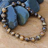 Tiger's eye beaded necklace, 'Instinct for Beauty' - Beaded Tiger's Eye Necklace
