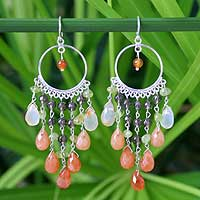 Carnelian chandelier earrings, 'Ginger Lime Ruffles' - Thai Sterling Silver Multigem Chandelier Earrings